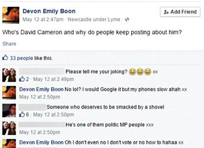 Facebook question David Cameron young mother asked
